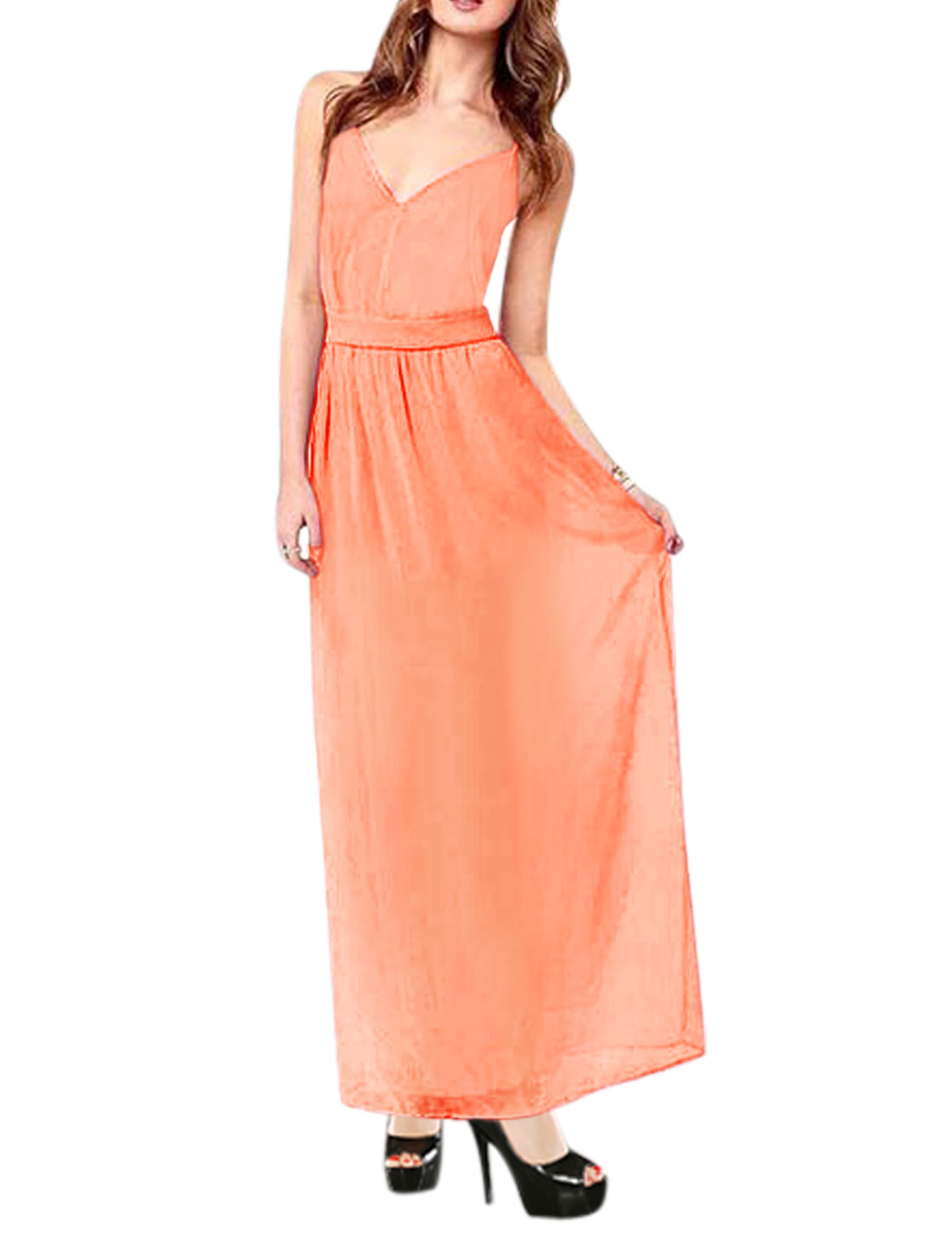 Woman Deep V Neck Spaghetti Straps Backless Chiffon Maxi Dress Light Salmon L
