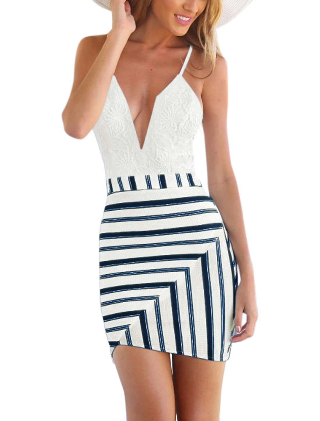 Woman Plunging Neckline Lace Panel Mixed Stripes Unlined Sheath Dress White XL