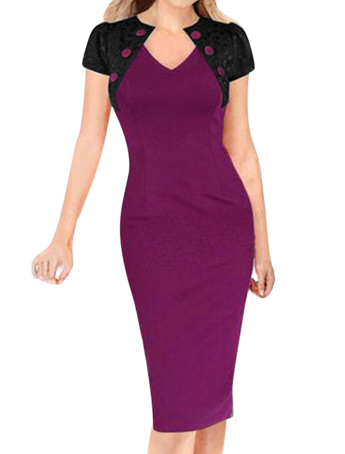 Woman Lace Panel Split Back Buttons Decor Upper Unlined Pencil Dress Purple M