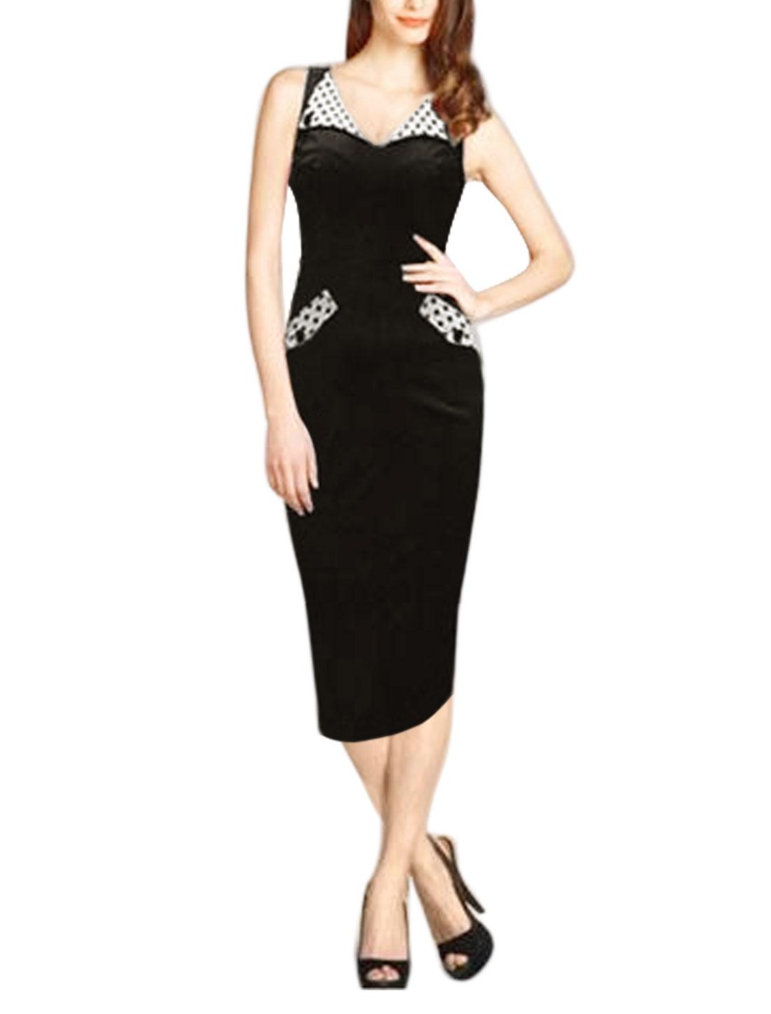 Women Turn Down Collar Sleeveless Dots Detail Split Back Sheath Dress Black M