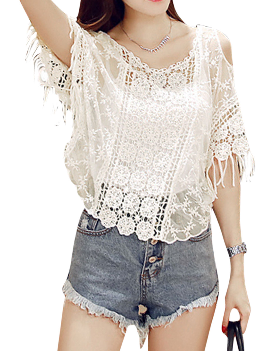 Ladies Short Sleeve Tassels Panel Cut Out Shoulder Casual Blouse White XS