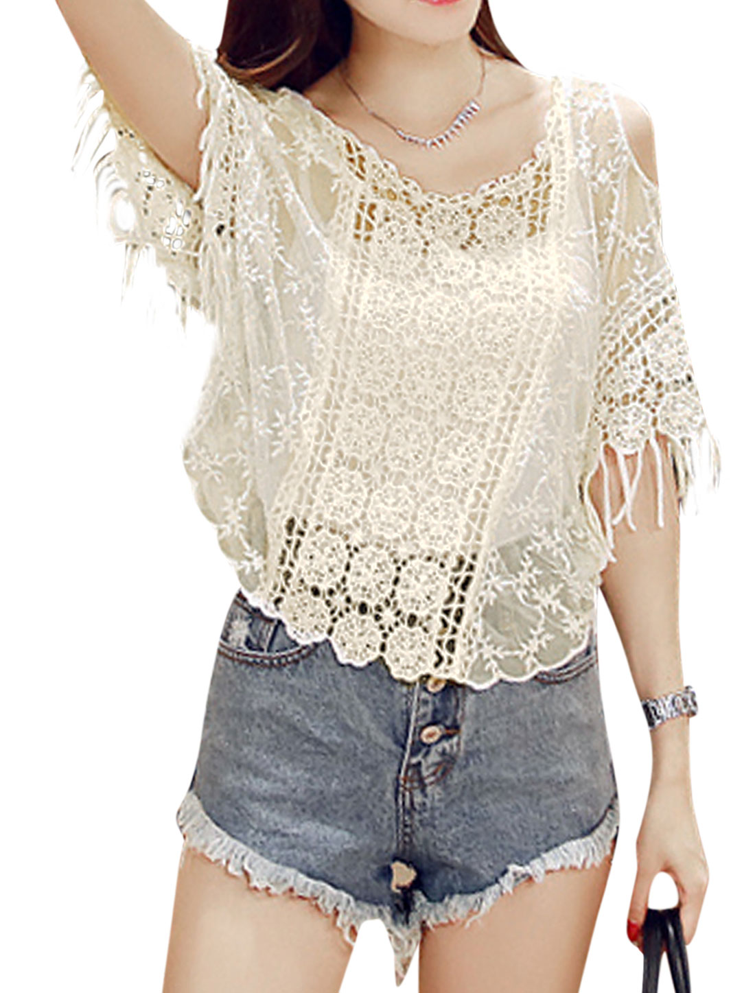 Women Short Sleeve Tassels Panel Cut Out Shoulder Casual Blouses Beige XS