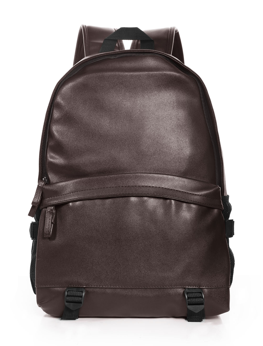Men Zipper Closure Front Pocket Buckle Straps Casual PU Backpack Brown