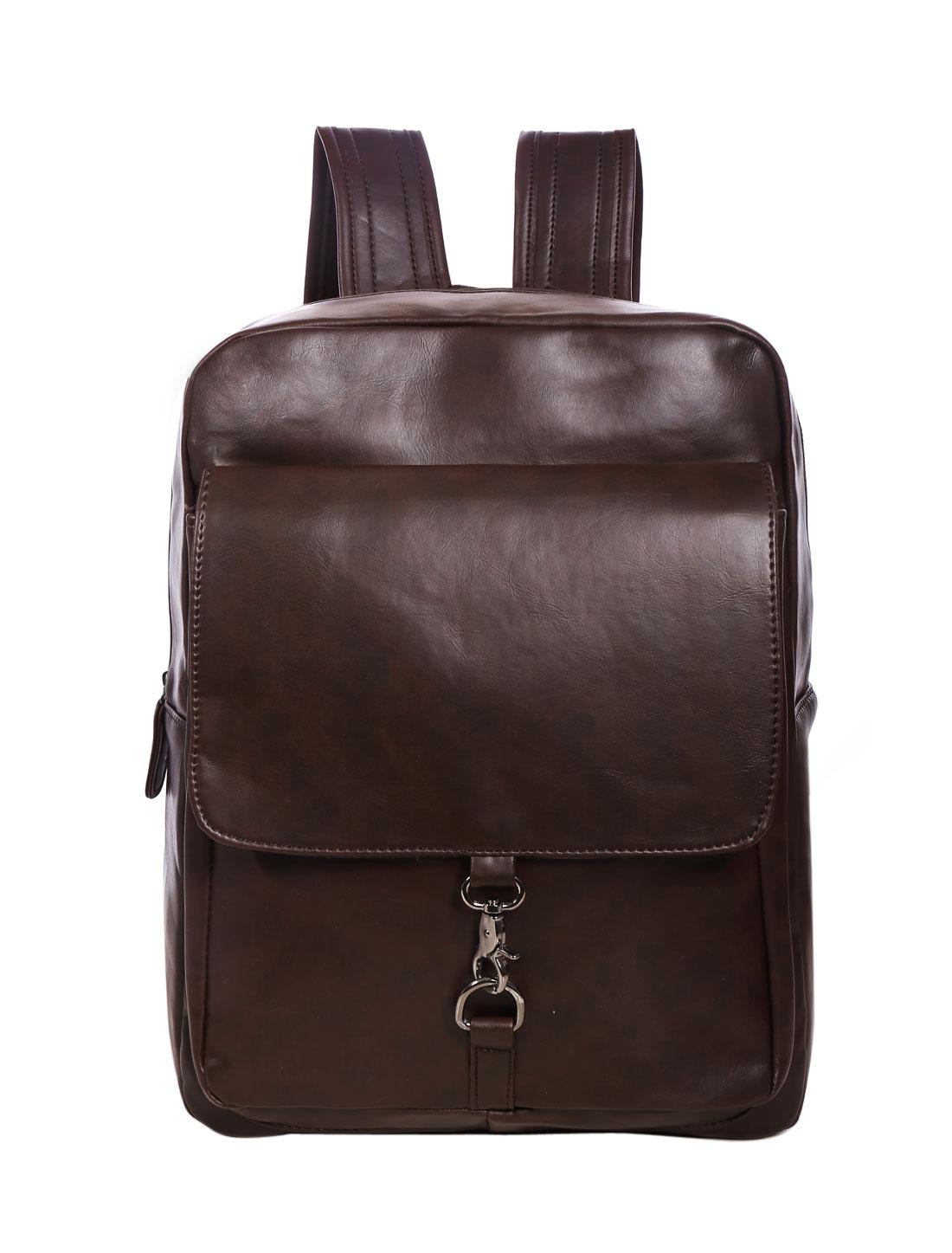 Unisex Adjustable Shoulder Strap Front Flap Pocket Backpack Coffee