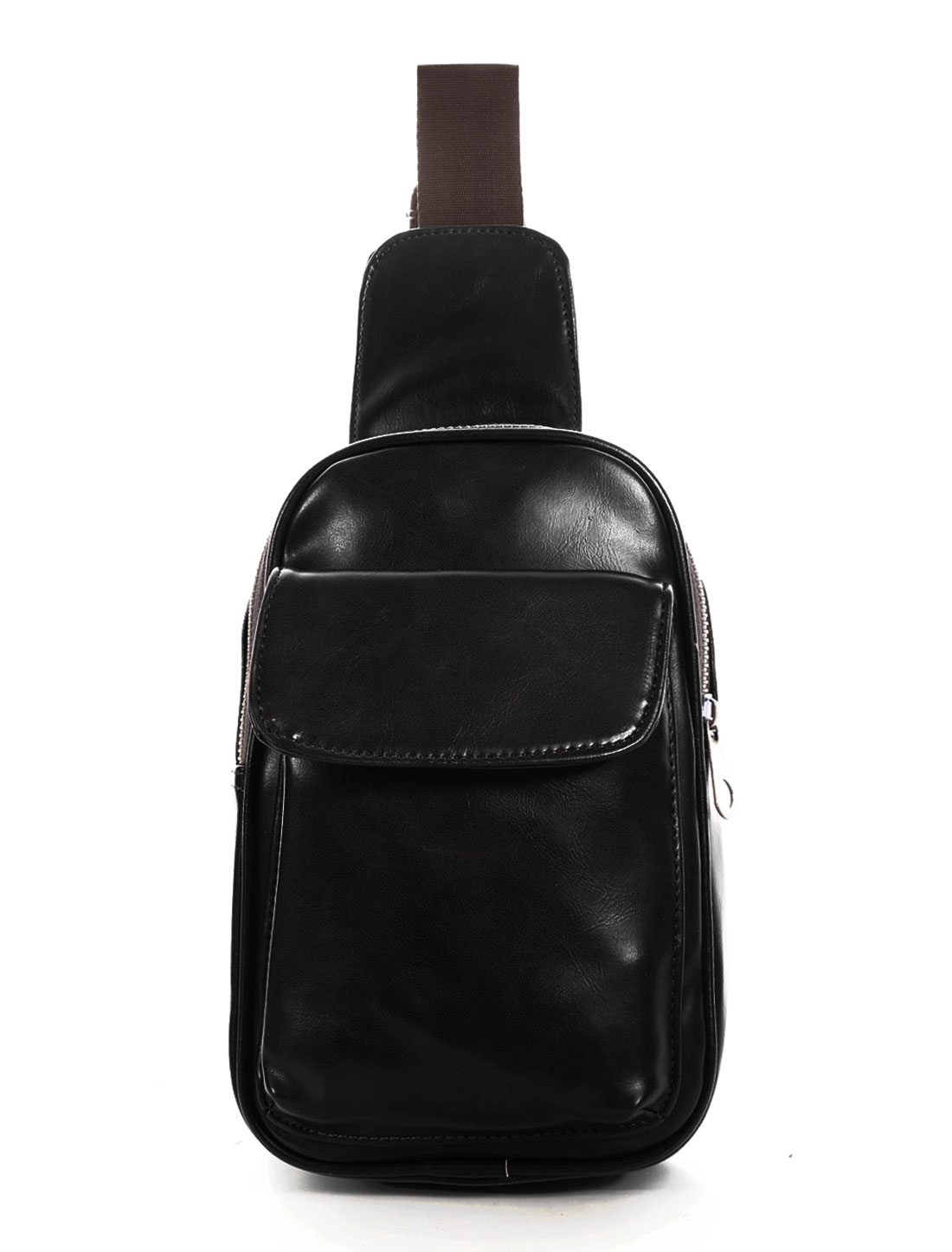 Men Adjustable Straps PU Crossbody Bum Bag Black