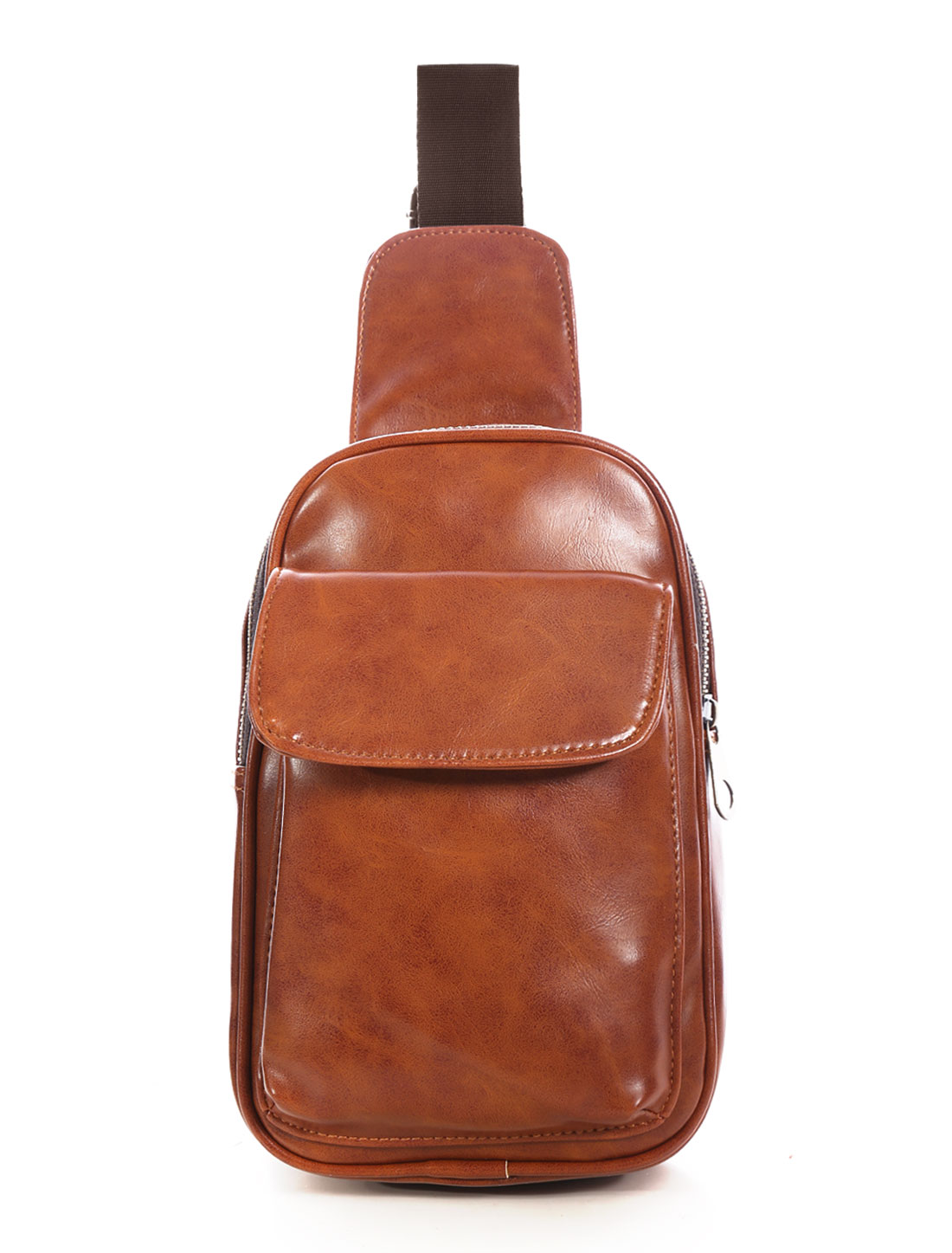 Men Zip Closure Adjustable Strap PU Crossbody Bum Bag Light Brown