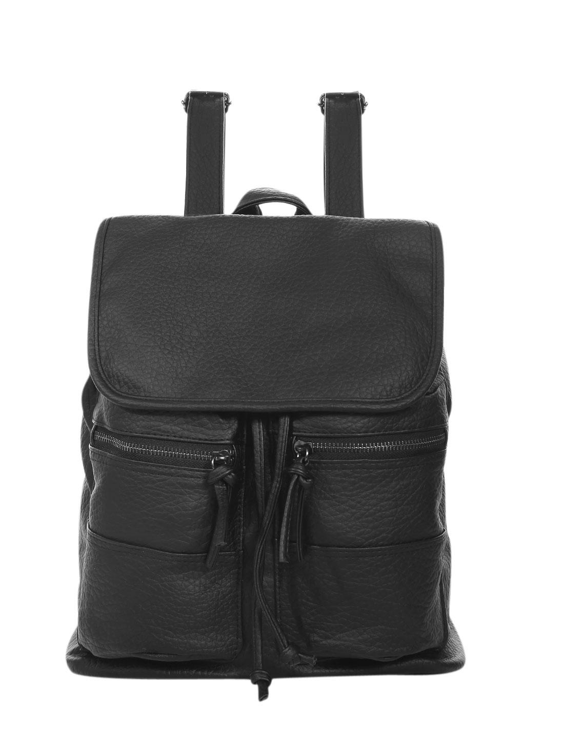 Women Press Stud Closure Flap Top Drawstring Backpacks Black