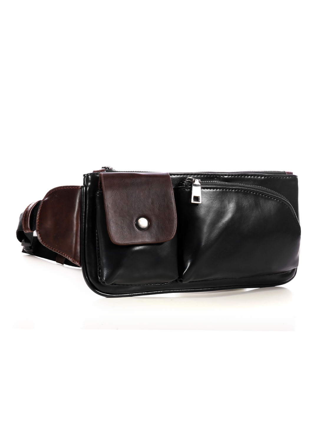 Man Contrast Color Detail PU Crossbody Fanny Pack Black
