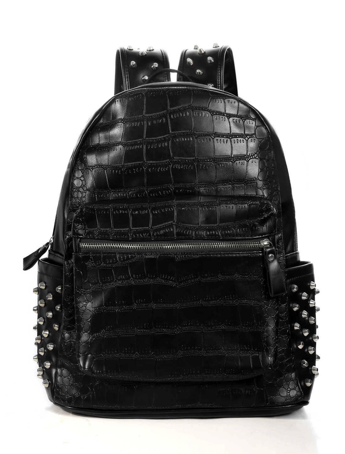 Unisex Zippered Closure Adjustable Straps Studded Backpacks Black