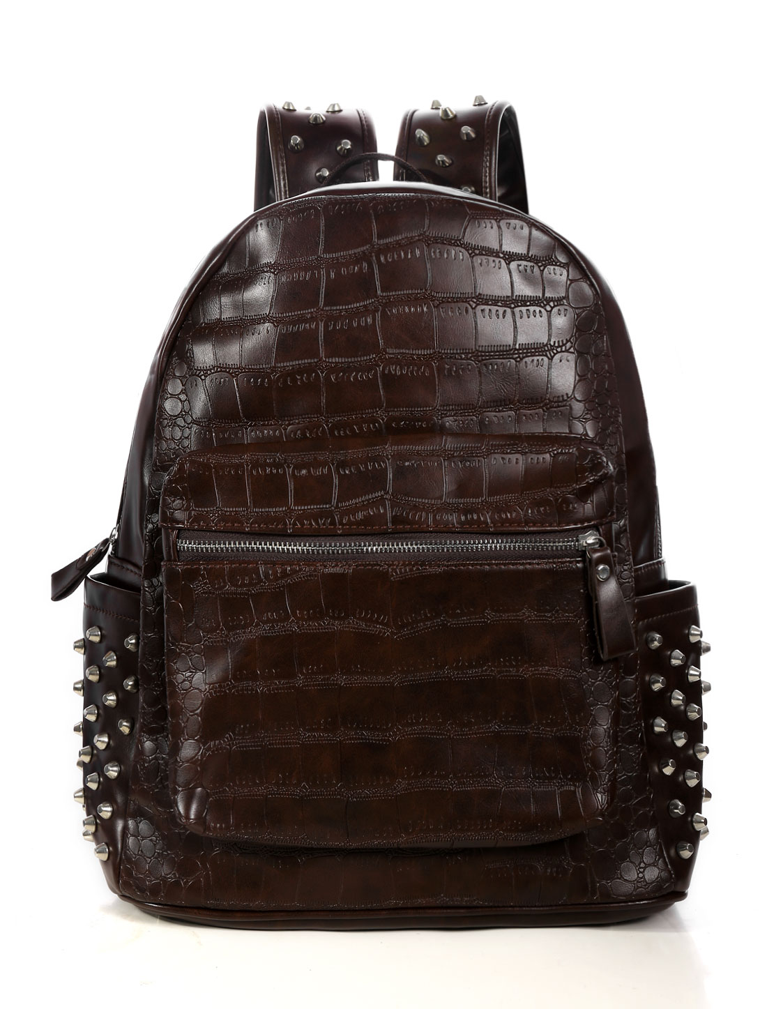 Unisex Zip Closure Side Pockets Studded Texture Packages Brown