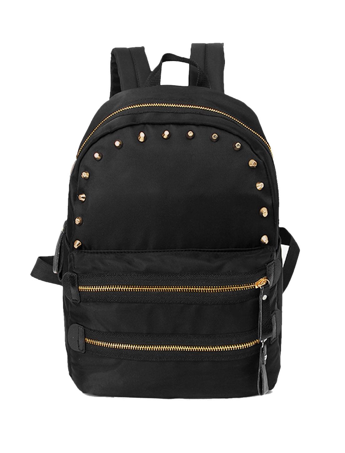 Women Studs Embellished Front Zippered Tarpaulins Backpack Black