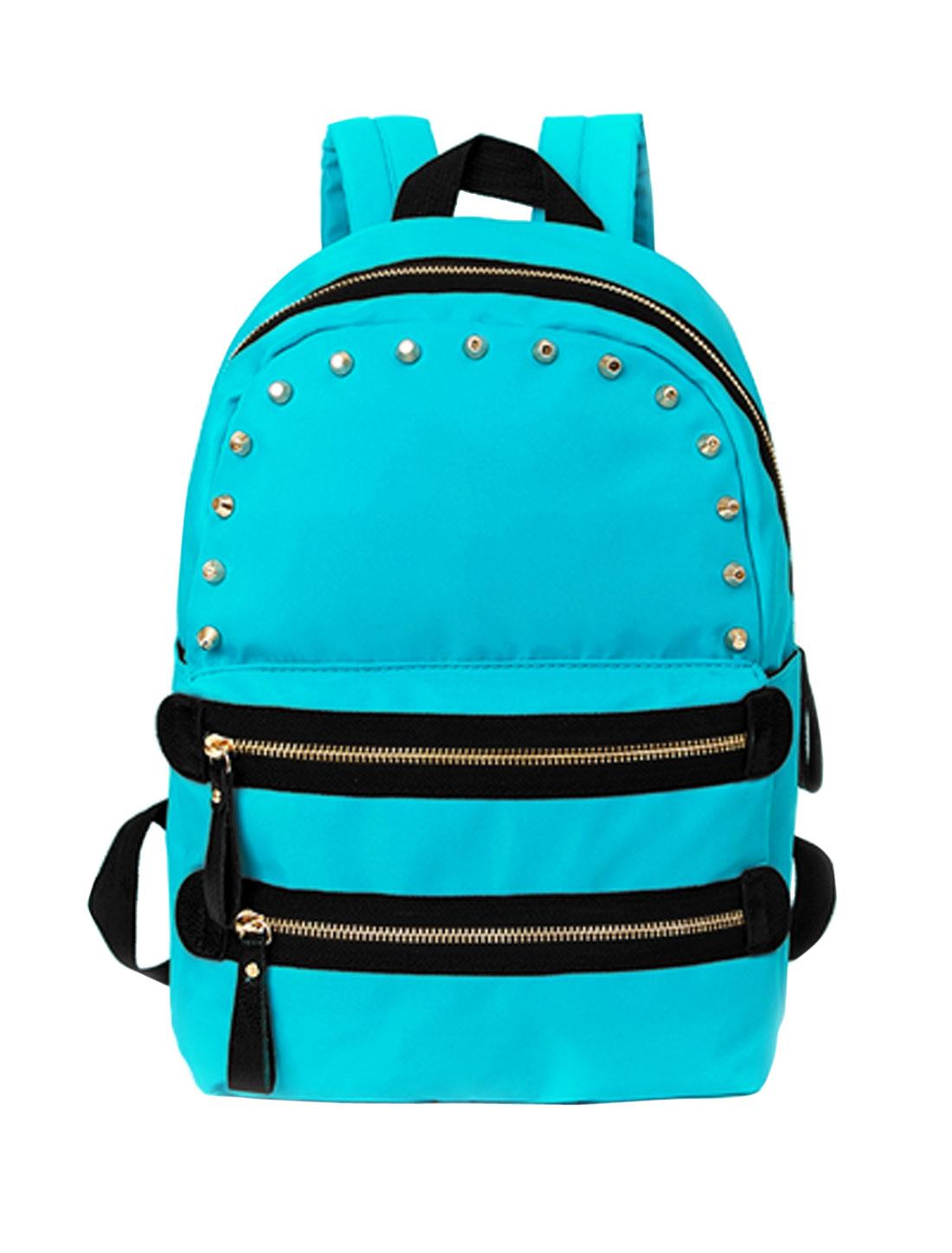 Women Studs Decor Adjustable Straps Zippered Tarpaulins Backpack Blue