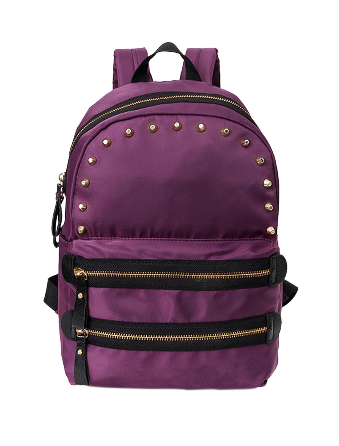 Ladies Studed Front Adjustable Straps Zippered Tarpaulins Backpack Purple