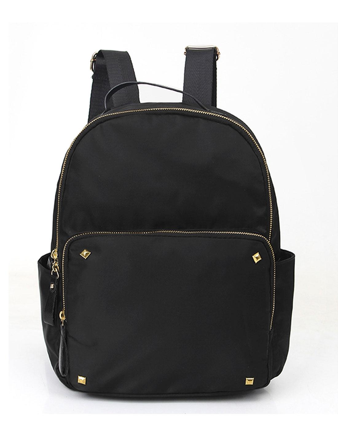 Women Studs Embellished Detail One Front Pocket Tarpaulins Backpack Black