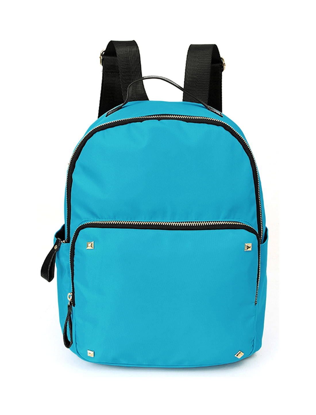 Women Studded Detail Zip Closure Tarpaulins Backpack Blue