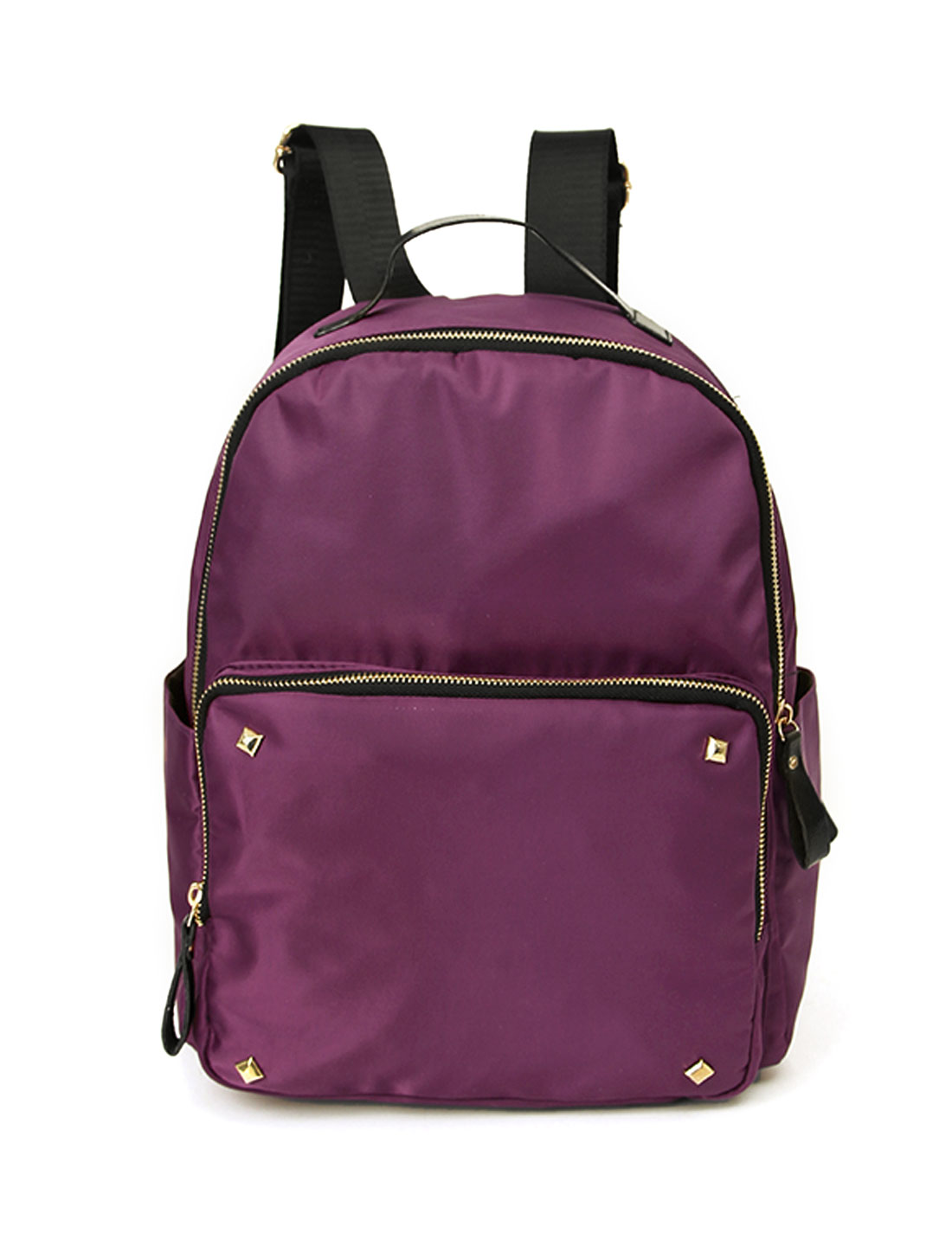 Women Studs Decor Detail Zip Closure Tarpaulins Backpack Purple