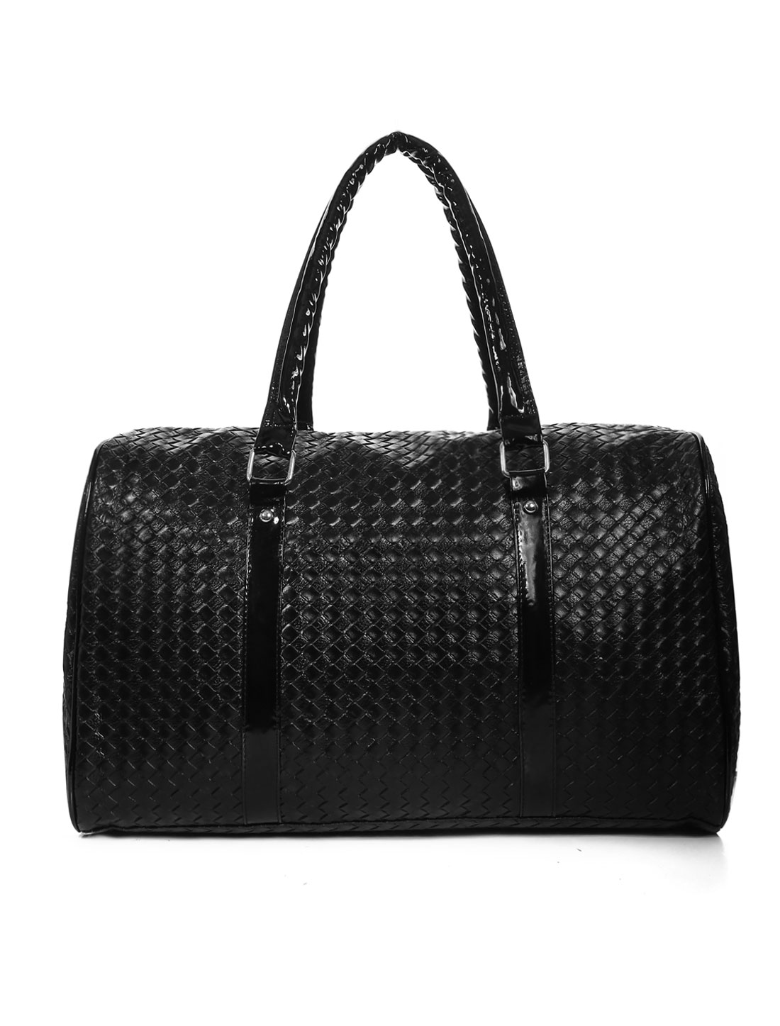Men Intrecciato effect Fully Lined Texture Satchel Black