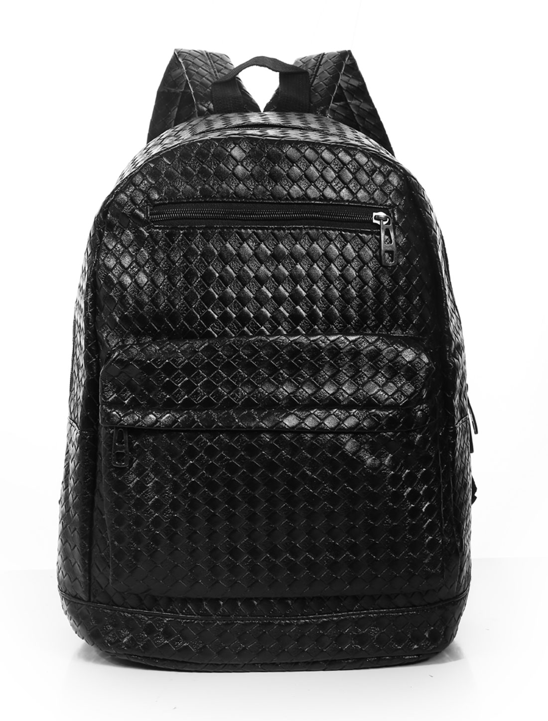 Men Intrecciato Daul Straps Zippered Textured Backpacks Black