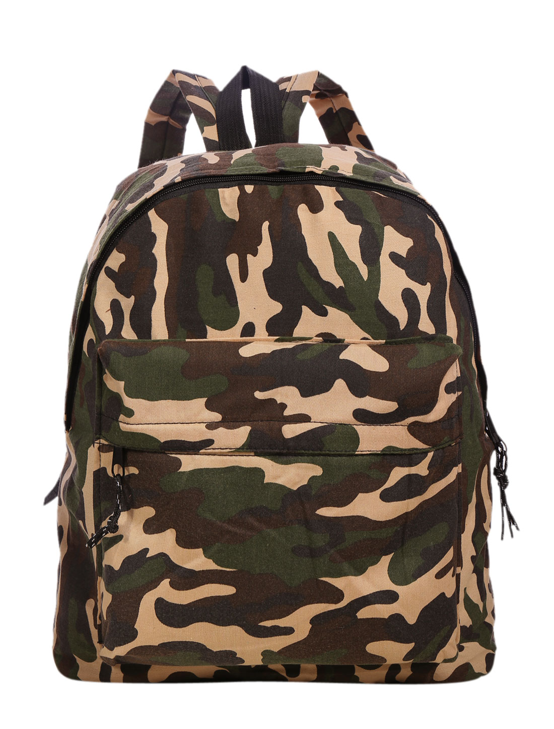 Men Camouflage Print Zip Closure Front Pocket Casual Backpack Army Green Beige