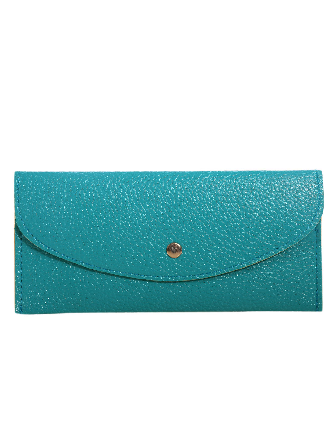 Unisex Snap-fastening Flap Multiple Card Slots Wallets Turquoise