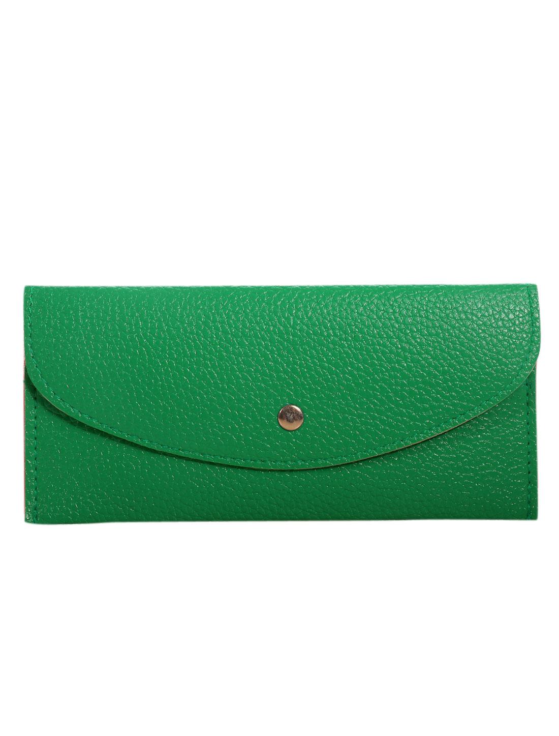 Unisex Snap-fastening Flap Textured Wallet Green