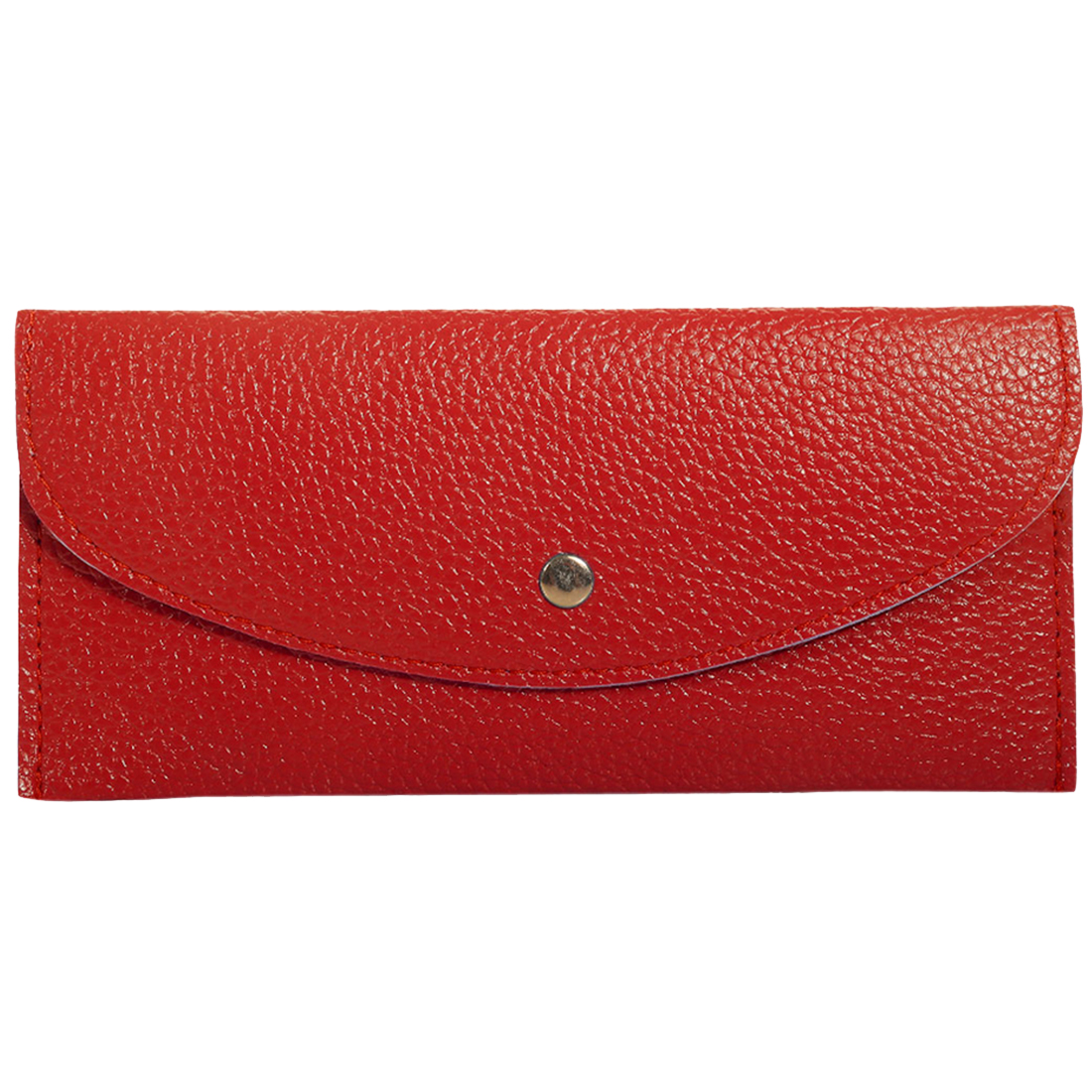 Unisex Snap-fastening Flap Simple Style Wallet Red