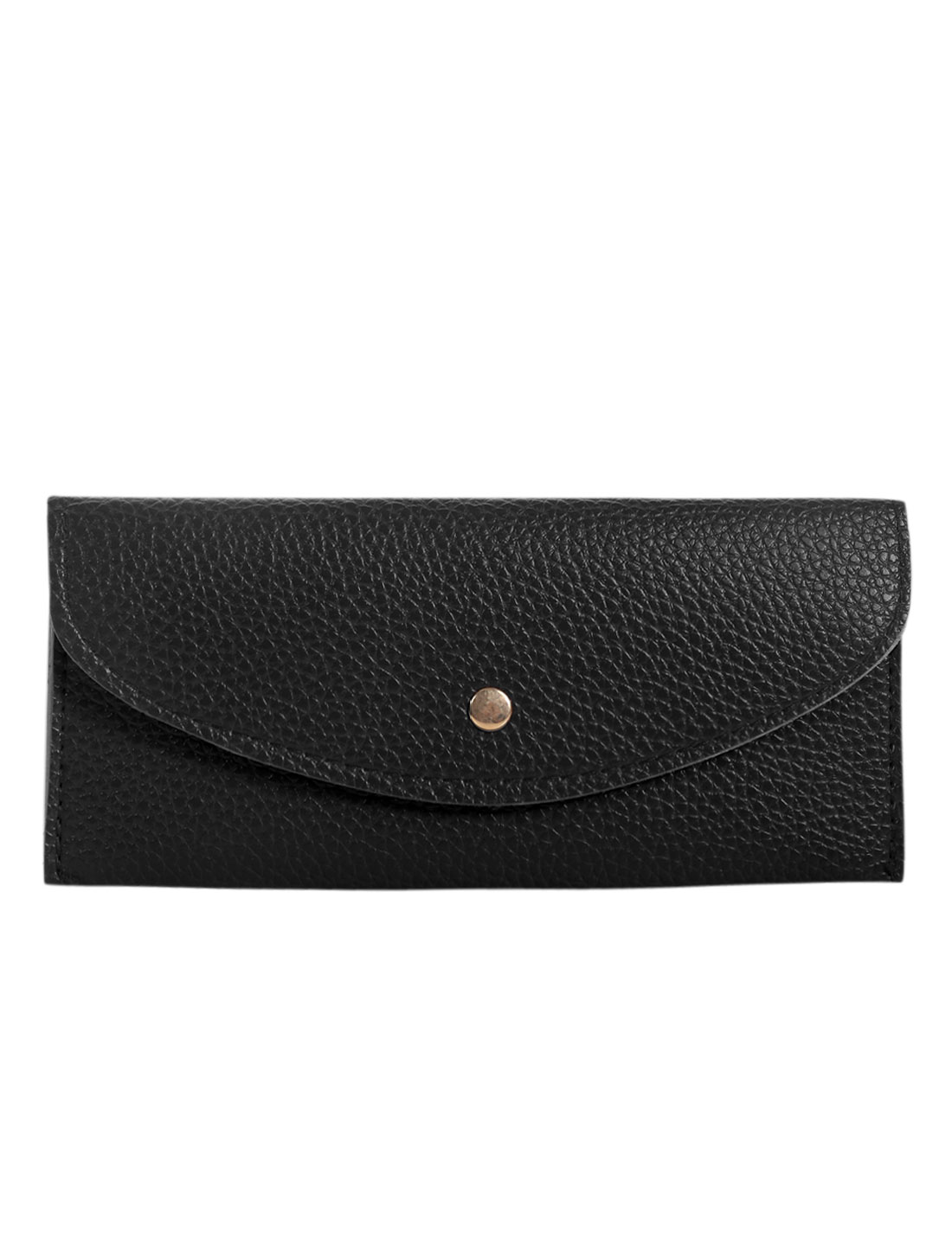 Unisex Rectangle Shape Slim Textured Wallet Black