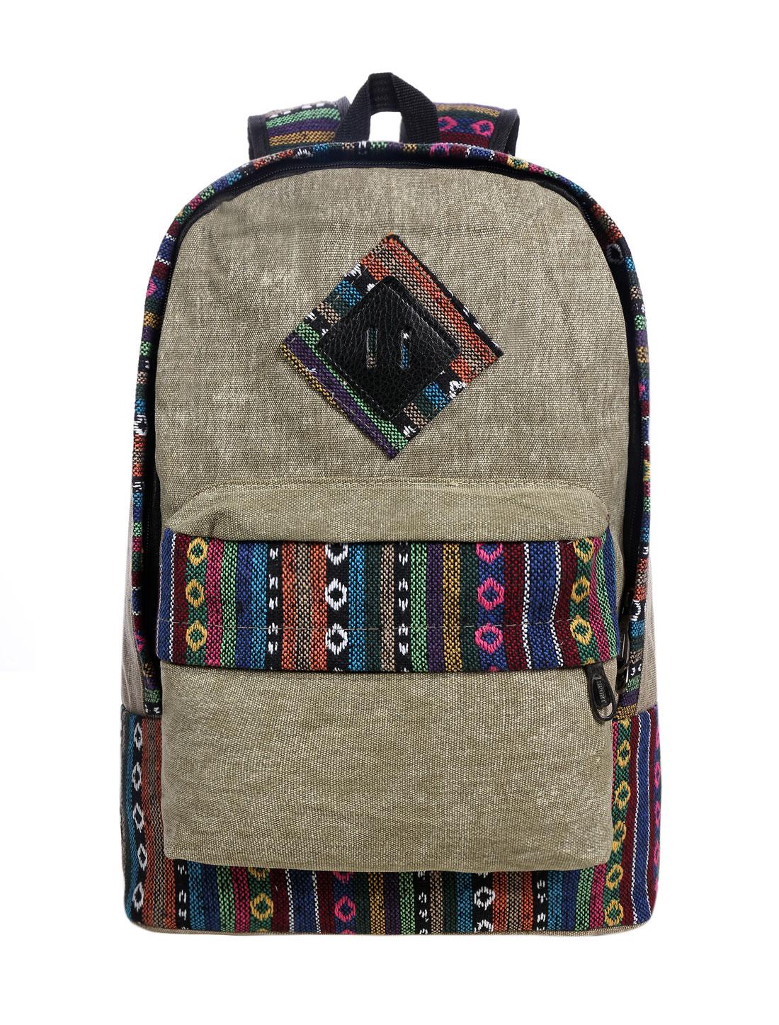 Men Adjustable Shoulder Straps Embroidery Casual Backpack Khaki