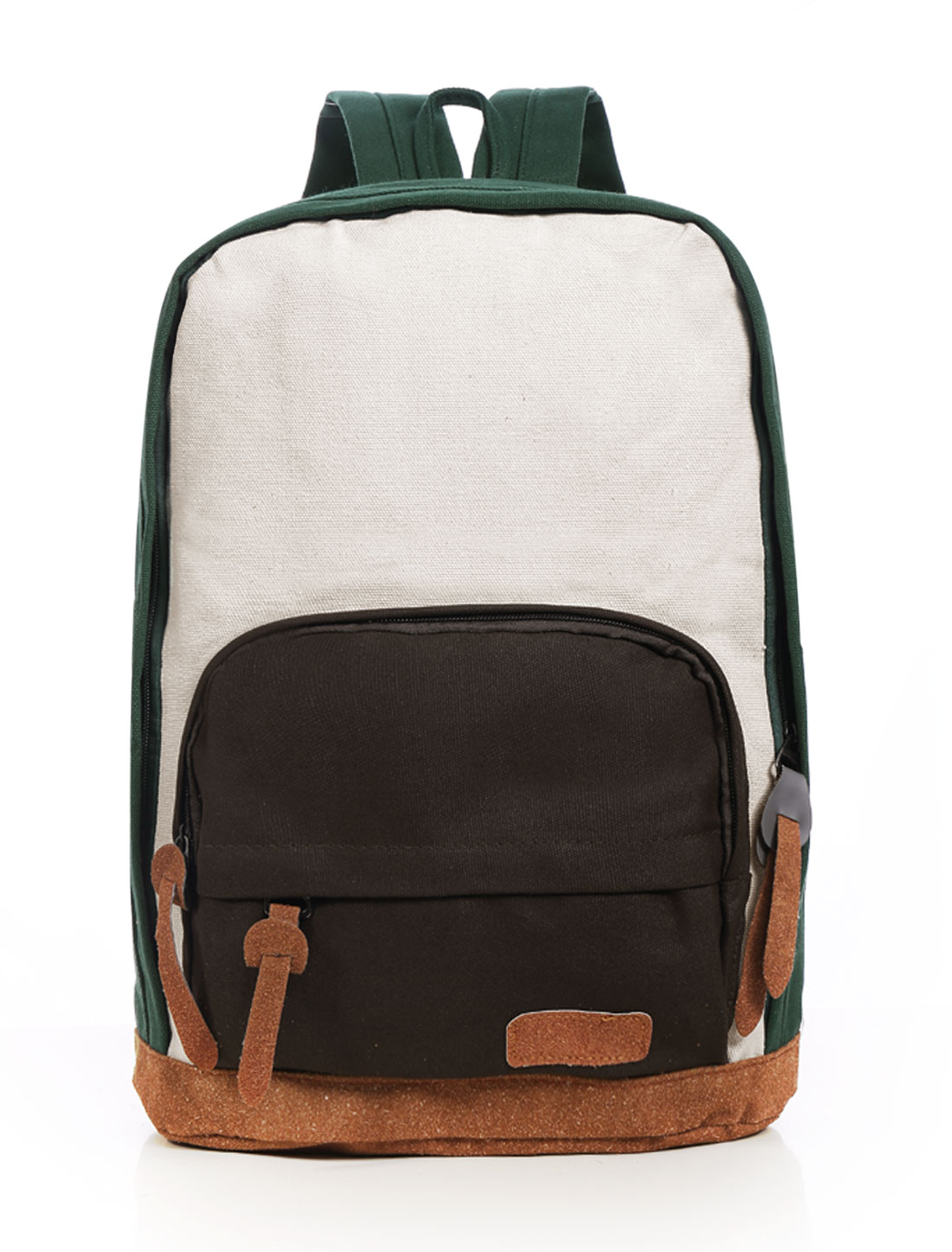 Men Color Block Front Pockets Casual Backpack Green Off White
