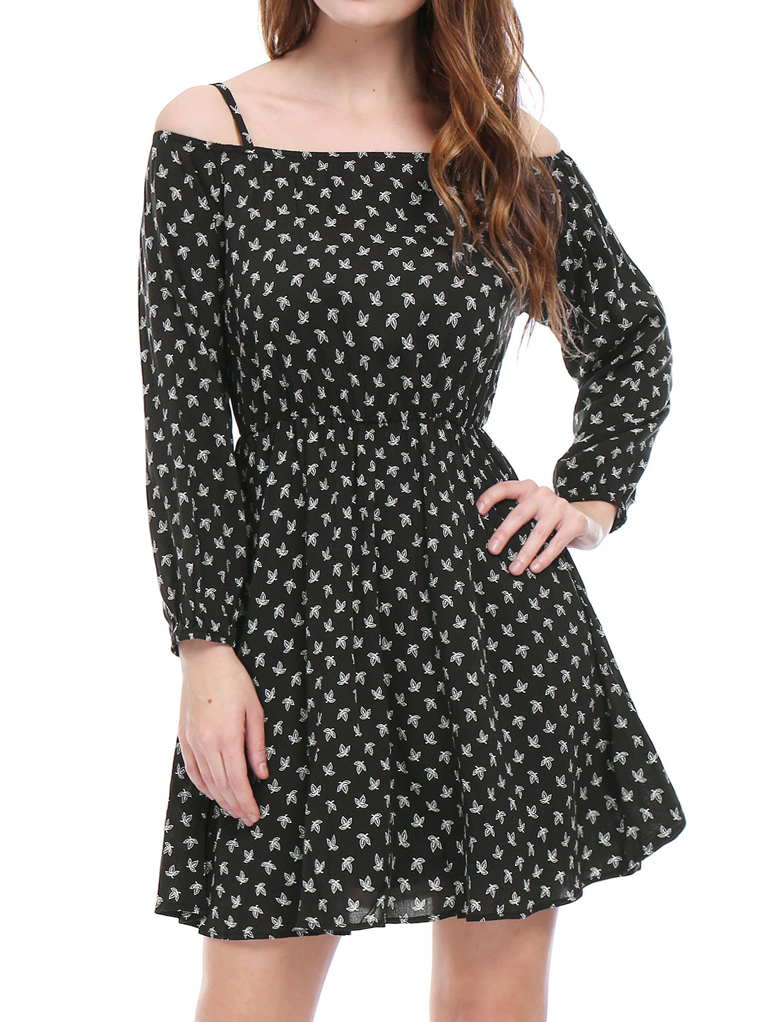 Women Cold Shoulder Leaves Prints Long Sleeves Bardot Dress Black XS
