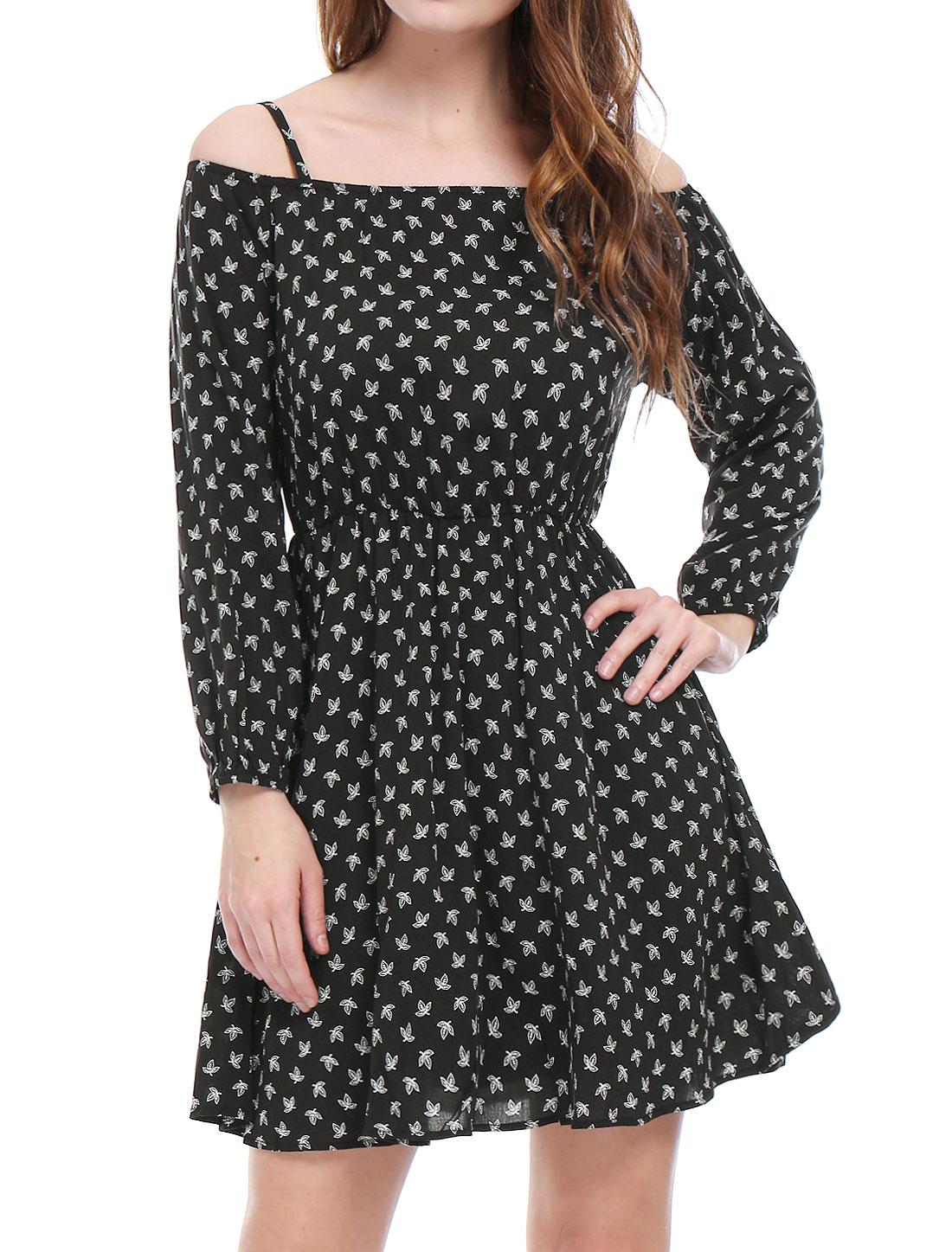 Ladies Cold Shoulder Long Sleeves Leaves Prints Casual Dress Black S