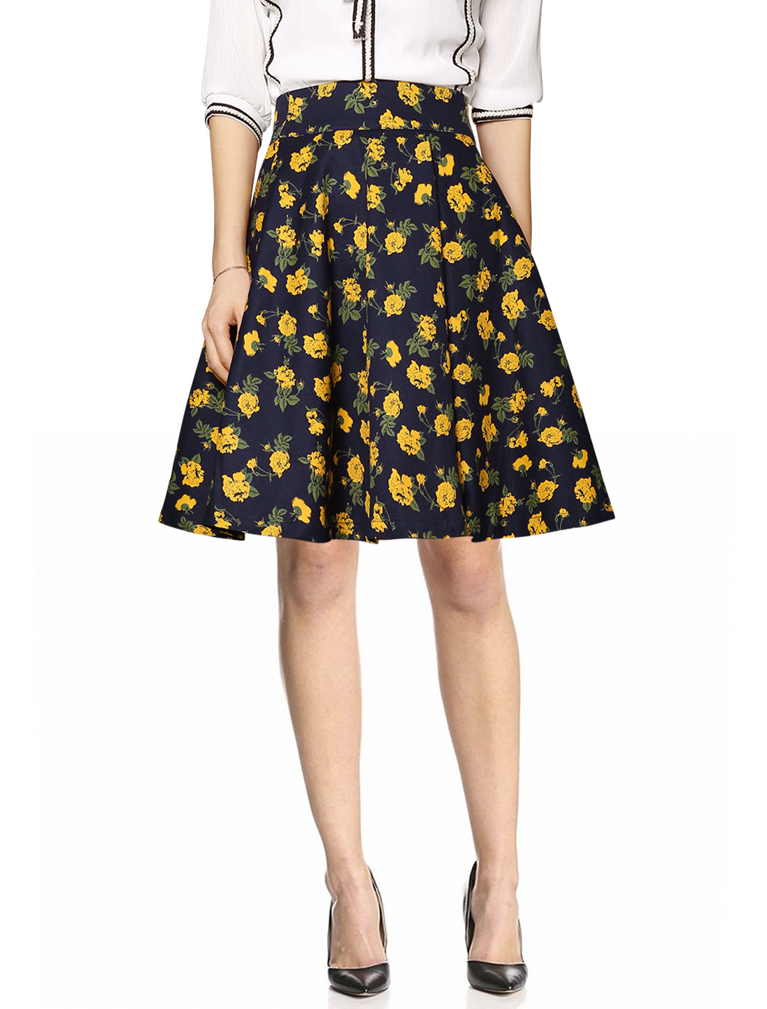 Ladies Retro Floral Prints High Waist Above Knee Full Skirts Navy Blue Yellow M