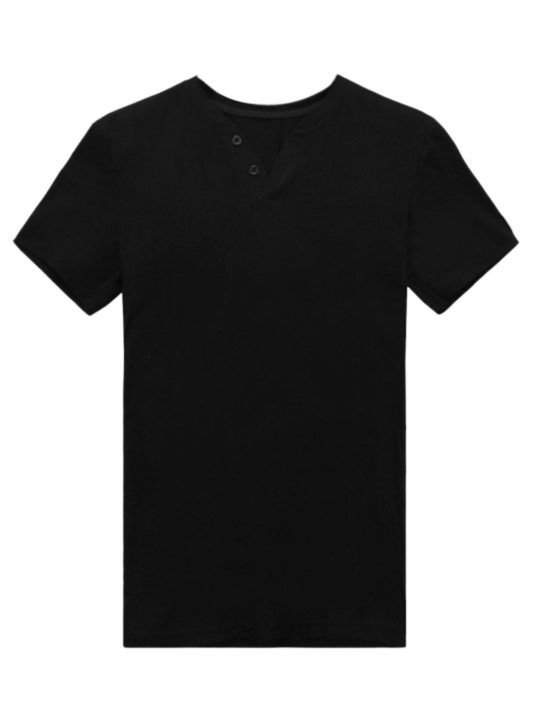 Men Short Sleeve Buttons Front Casual Summer Tee Shirt Black M