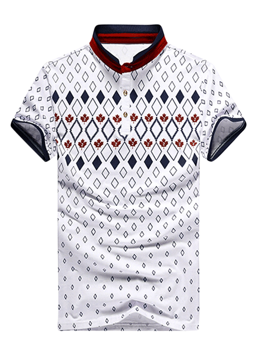 Men Argyle Leaves Pattern Short Sleeves T-shirt White Burgundy M