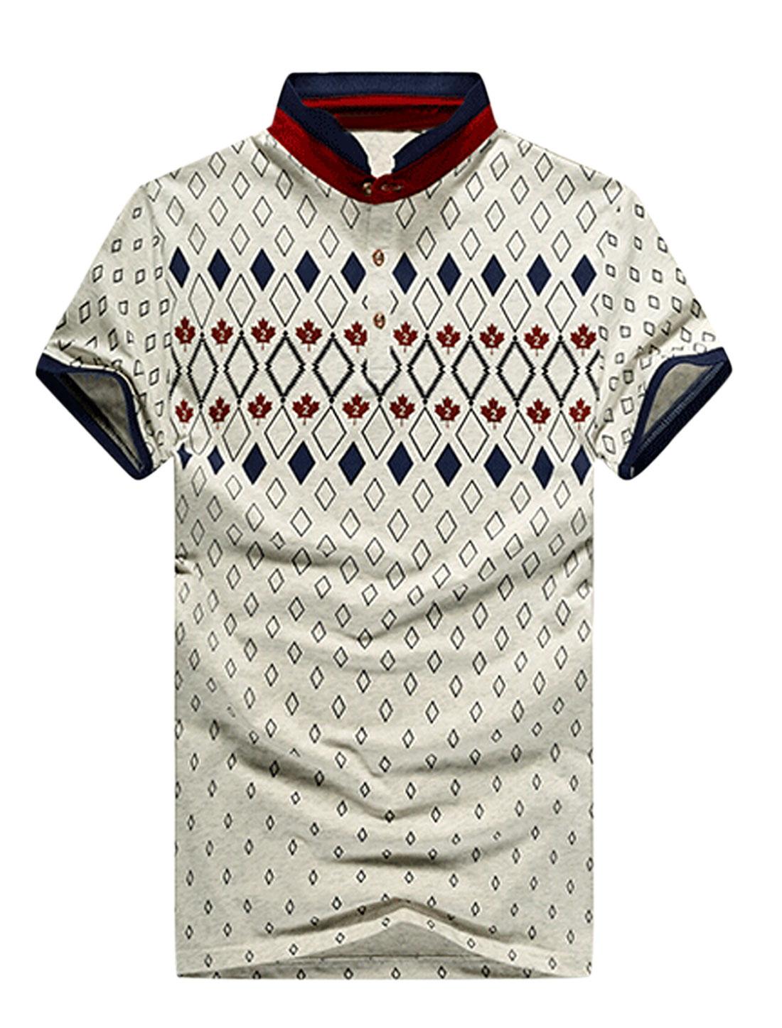 Men Argyle Leaves Pattern Casual T-shirt Light Gray Burgundy M