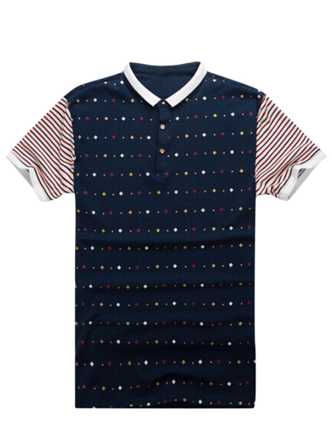 Men Stripes Geometric Prints Panel Casual T-shirt Navy Blue Beige M
