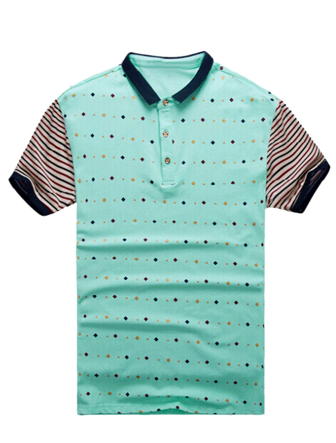 Men Stripes Geometric Prints Buttons Closed Upper T-shirt Aqua Beige M