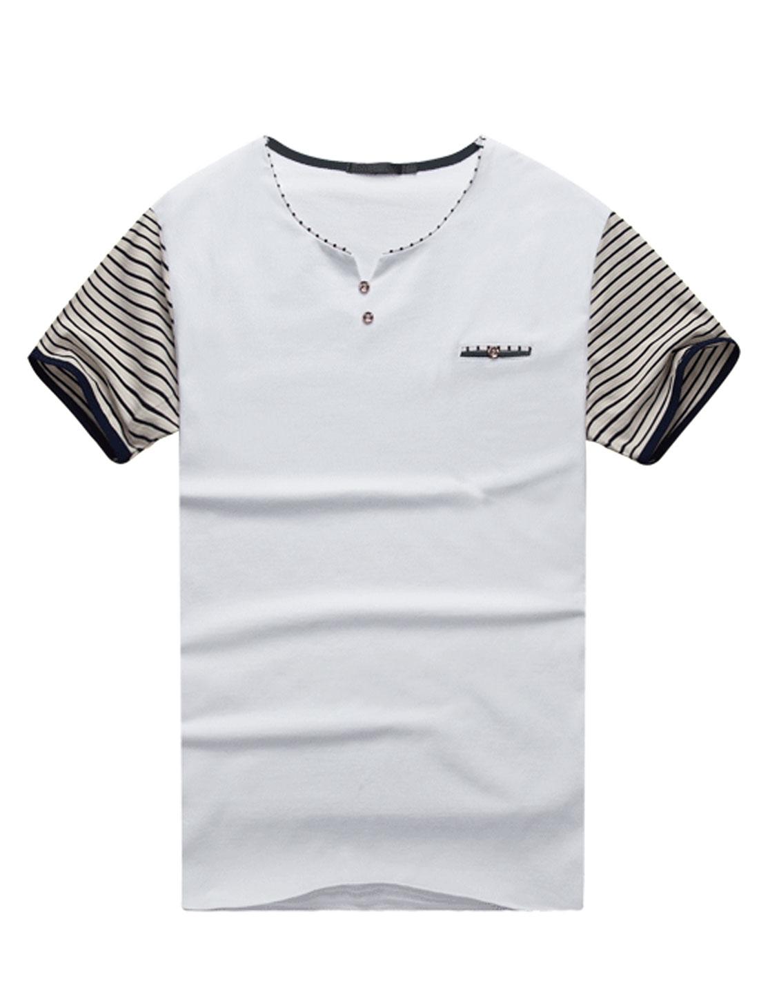 Men Stripes Split Neck Short Sleeves Casual Tee Shirt White M