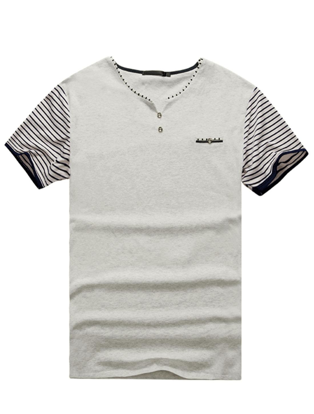 Men Stripes Short Sleeves Buttons Decor Detail Tee Shirt Light Gray M