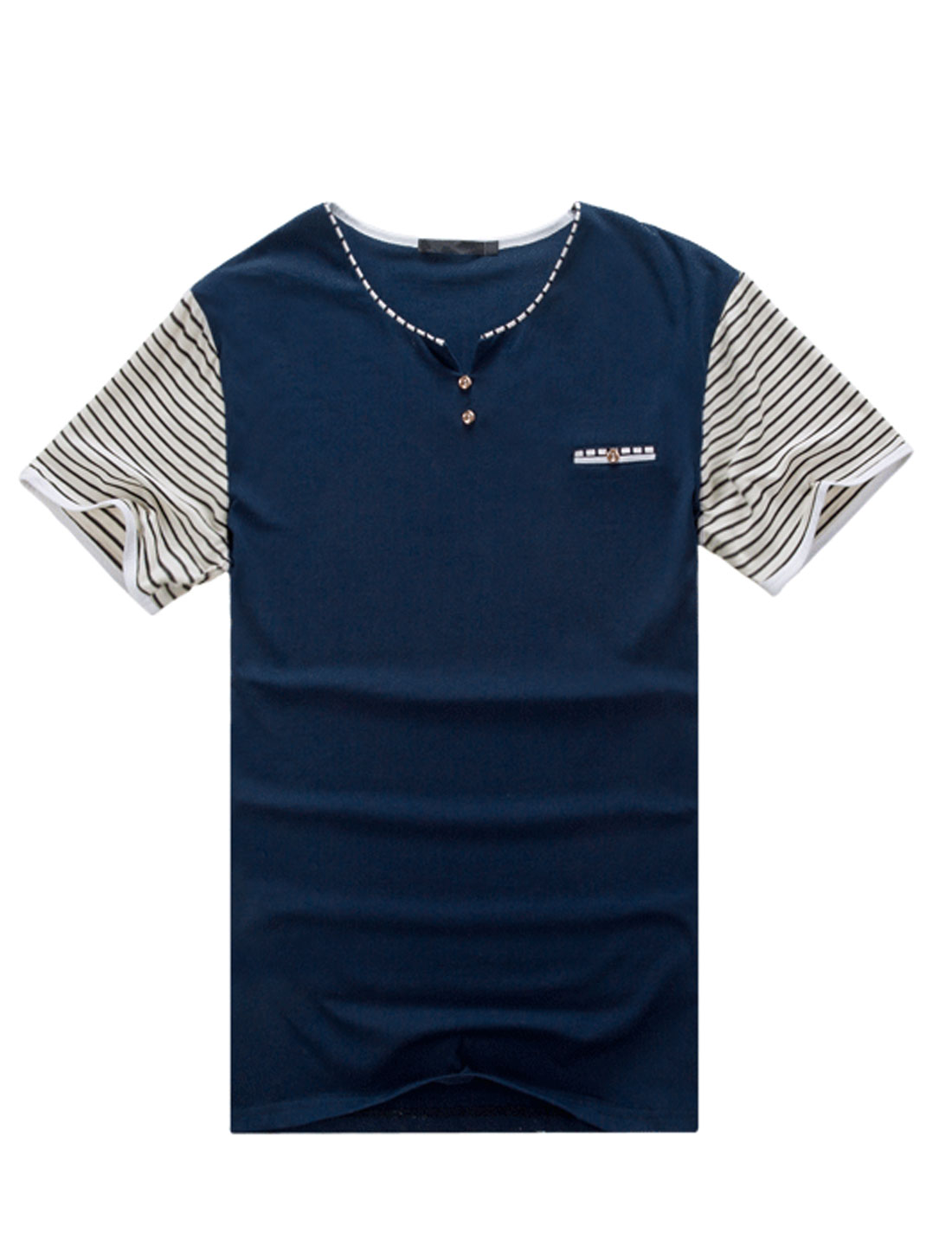 Men Stripes Split Neck Mock Chest Pocket Leisure Tee Shirt Navy Blue