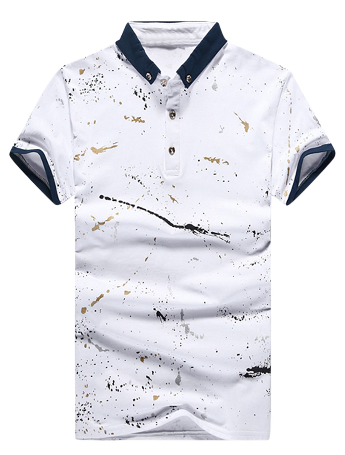 Men Novelty Prints Buttons Decor Detail Casual T-shirt Whites M