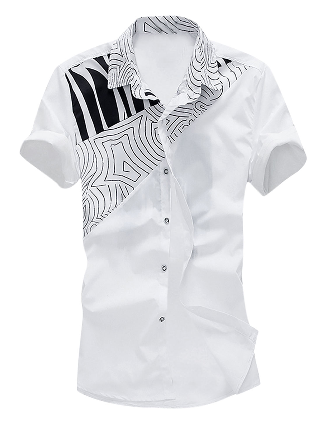 Men Short Sleeve Button Down Slim Fit Leisure Shirts White M