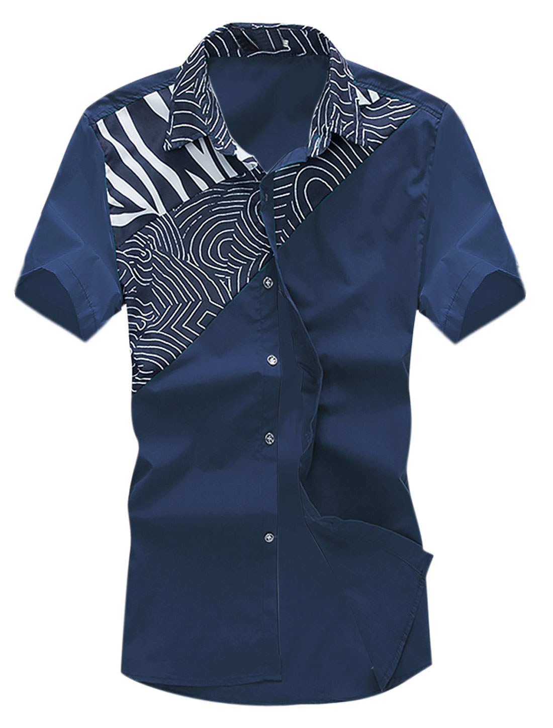 Men Short Sleeve Point Collar Novelty Prints Casual Shirts Navy Blue M