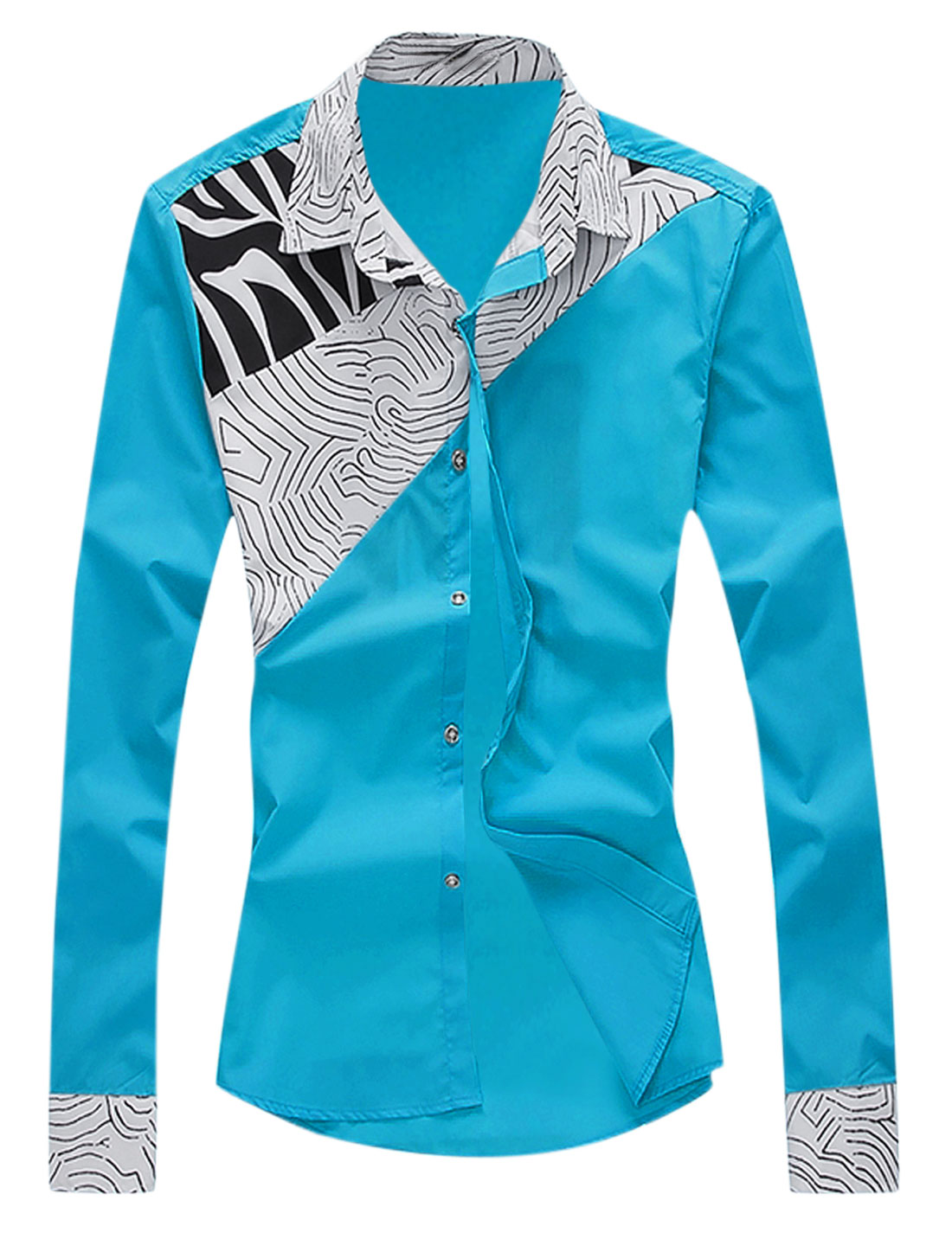 Men Long Sleeve Novelty Prints Button Down Shirt Turquoise M