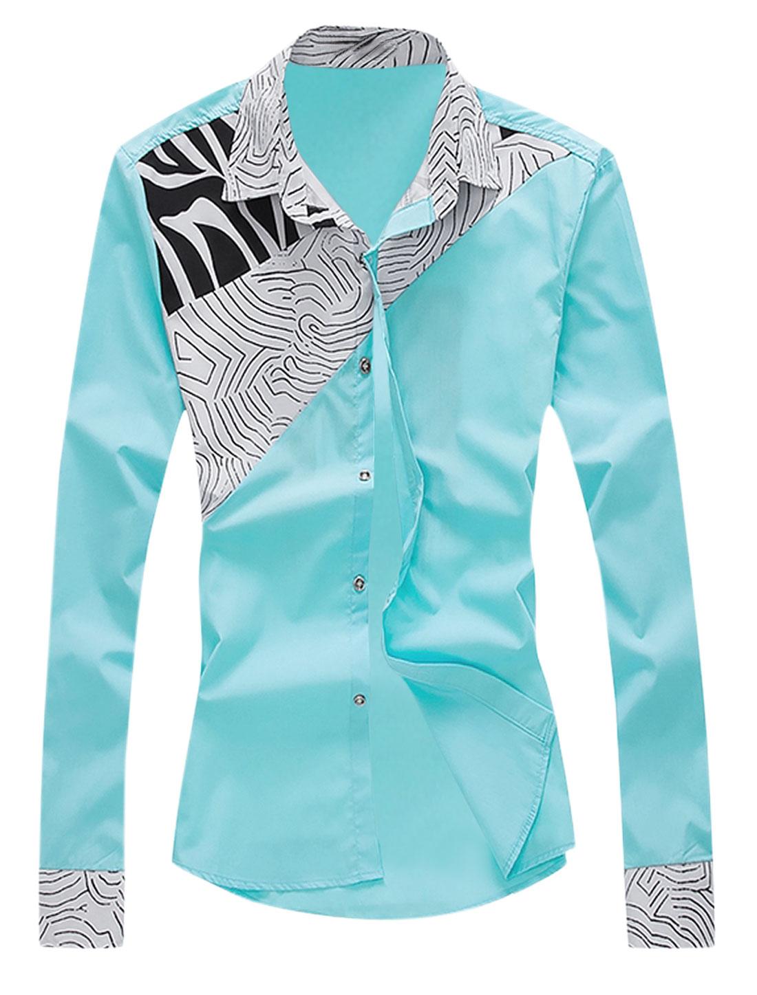 Men Long Sleeve Point Collar Novelty Prints Shirt Light Aqua M