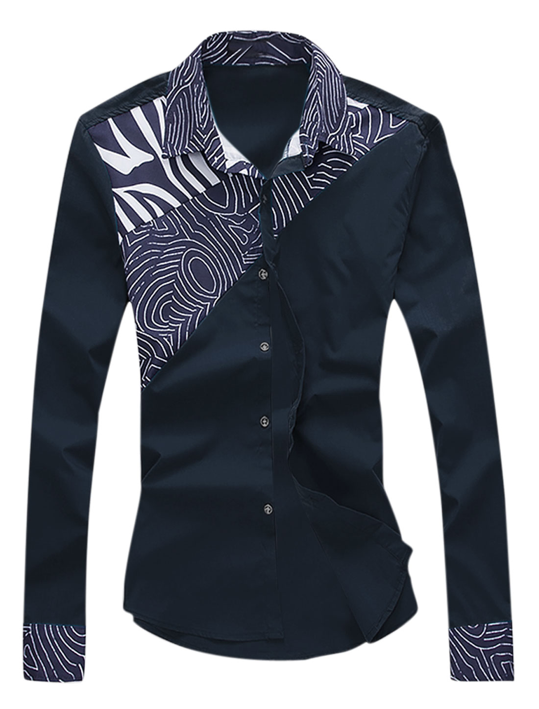 Men Long Sleeve Point Collar Novelty Prints Casual Shirts Navy Blue M