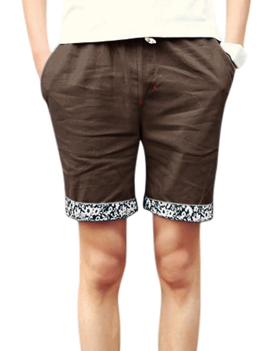 Men Drawstring Waist Front Pockets Leisure Shorts Brown W32