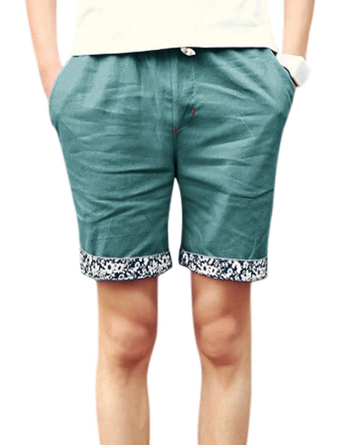 Men Mid Rise Drawstring Waist Casual Short Pants Peacock Blue W32