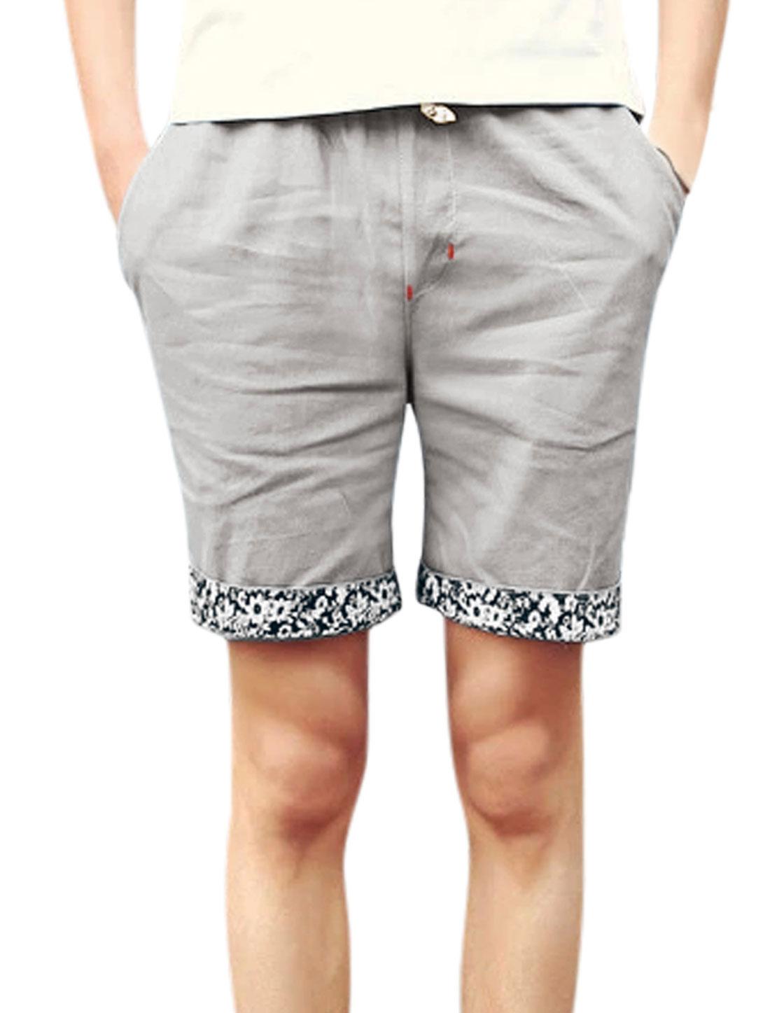 Men Mid Waist Front Pockets Slim Fit Short Shorts Light Gray W32