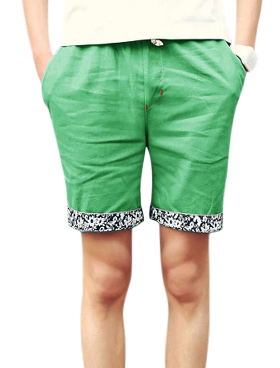 Men Mid Rise Drawstring Waist Front Pockets Shorts Green W32